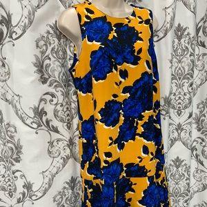 **Yellow & Royal Blue Rose Patterned Dress**
